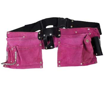 7-Pocket-Pink-Suede-Double-Tool-Pouches-With-Nylon-Belt